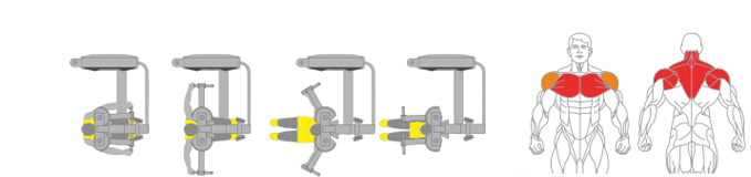Máy ép ngực vai sau Plus X J400 - 15